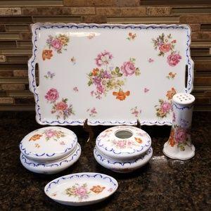 Antique  vanity/dresser set. Porcelain 1800s